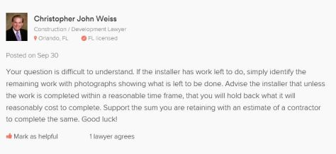 Can an installer deduct
